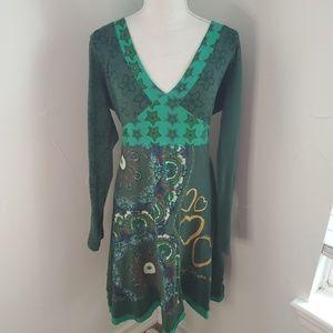 Desigual Longsleeve Dress Green sz L